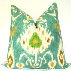 Beautiful Decorative Pillow - Ikat - 20x20 in - Teal - Green - Brown - Throw Pillow - Toss Pillow - Sofa Pillow