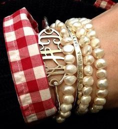 Southern style pearls and monograms