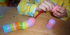 stringing plastic eggs
