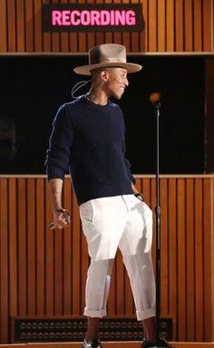 Pharrell Williams at the 2014 Grammy Awards.