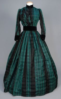 Day Dress, 19thc., Made of silk, velvet, and cotton