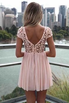 Nice pink mini dress .