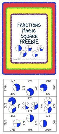 Classroom Freebies: Fraction Magic Square FREEBIE