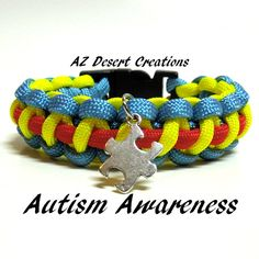 Autism Awareness Survival Bracelet with Puzzle Piece Charm Paracord | DesertCreations - Jewelry on ArtFire