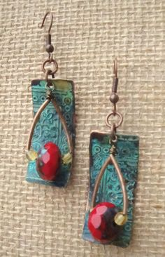 Bohemian Patina Copper Red Czech Tile Texture by kristibasket, $36.00