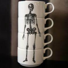 skulls, teas, bones, skeletons, coffee cups, doctors, kitchen, teacup, mugs