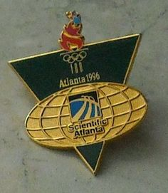 Atlanta 1996 Olympic Games Olympics Scientific Atlanta Green Gold Hat Pin Badge  - This Item is for sale at LB General Store http://stores.ebay.com/LB-General-Store ~Free Domestic Shipping
