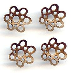 14805  Vintage Open Circles Bead Caps, 10  Bead caps add a touch of metal to any bead you put them on.  These vintage brass bead caps have a geometric design of open circles in two different sizes throughout each piece.  These bead caps would fit 8mm or 10mm size beads.