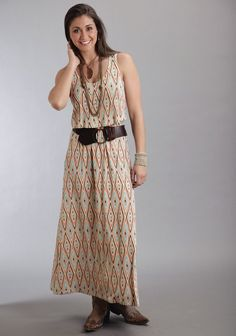 Stetson® Orange Printed Maxi Dress