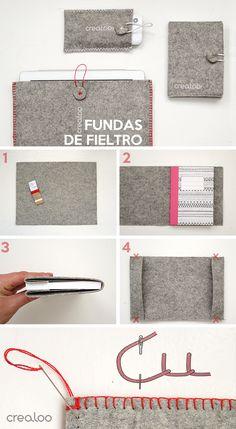 DIY Fundas de Fieltro para móvil, libreta o Ipad