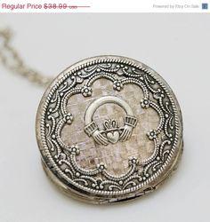 ON SALE Claddagh,Locket,Irish Locket, Silver Locket,locket necklace,photo locket,vintage locket,Wedding Necklace,bridesmaid necklace