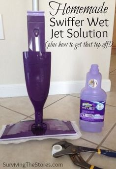 How to make your own Swiffer Wet Jet solution refills - plus how to get off that top that's so hard to remove!  This saves SO much money because those refill bottles are crazy expensive!