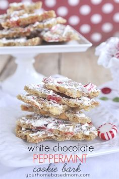 White Chocolate Peppermint Cookie Bark. ☀CQ #christmas