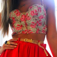 skirt, fashion, red, cloth, style, crop tops, summer outfits, bustier, closet