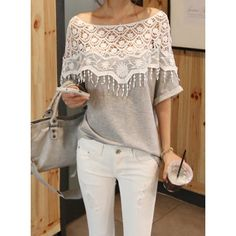 Lace Cutout Shirt Women Handmade Crochet Cape Collar Batwing Sleeve T-shirt, GRAY, ONE SIZE in Tees & T-Shirts | DressLily.com
