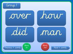 A set of PowerPoints covering the recommended 300 high frequency words in order. There are three versions of each presentation - the Ppts have an embedded cursive font . On the first presentation the words are grouped by Phase (2 to 5) and are in groups of 20 on subsequent presentations. Words are displayed on clear flashcards which can be viewed individually or in groups. Suitable for small groups and individual children in addition to whole class teaching. Word list included