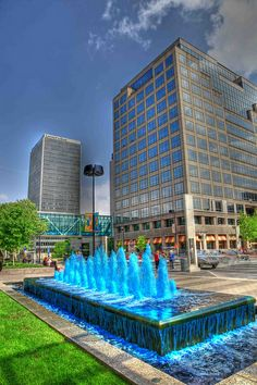 Blue Fountains at Crown Center for the Royals (and currently for the MLB All Stars Game!) Kansas City, MO
