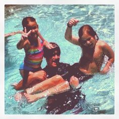 Awwww - big brother with the little ones :)   Pool time is the best time for our Arizona summers