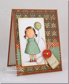 handmade card Hugs–MFT Academy: Paper Piecing ...sweet little girl in paper pieced dress with paper pieced balloon .. Copic coloring for rest of the image ... sweet!! ... Taylored Expressions ...