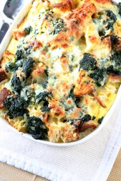 Spinach and cheese strata.