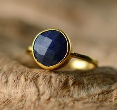 Blue Sapphire Ring Gemstone Ring  Gold Ring  Bezel Set by delezhen, $62.00