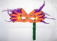 handprint mardi gras mask kid craft