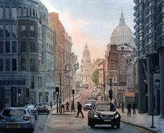 "Saatchi Online Artist Rob Adams; Painting, ""Cannon St Evening"" #art"
