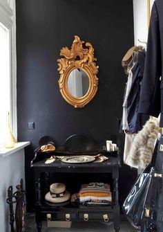 black + gold closet