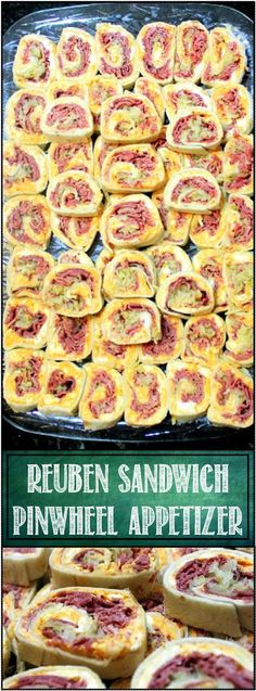 "Reuben Pinwheel Sandwich - 52 Appetizers - This is a GUARANTEED EMPTY PLATE! All the flavors of a classic Reuben sandwich (Swiss Cheese, Russian Dressing, Irish Corned Beef and German Sauerkraut in a hand held ""Just a Little Bite Appetizer. PEOPLE LOVE THESE! 4w"