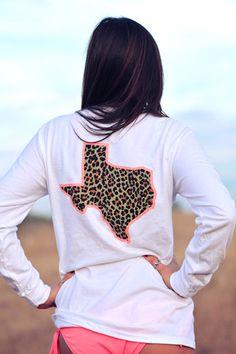 Texas Cheetah Coral Tan Long Sleeve - White