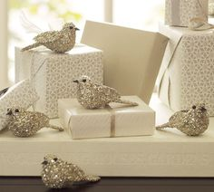 silver christmas, christmas holidays, little birds, white christmas, gifts, holiday decorating, glitter, pottery barn, christmas wrapping