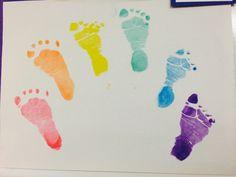 Rainbow craft. #rainbow #weather #kids #children #preschool #prek #kindergarten #toddler #infant #baby #footprint #keepsake #handprint #art #creative #easy #diy #gift #simple #craft #kindercare #spring #springtime #march