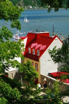 Old Quebec- such a pretty waterfront house, white with a red roof ♥