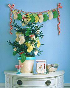 . holiday, tree, mini stock, advent calendars, minis, christmas stockings, small gifts, garland, diy christmas crafts