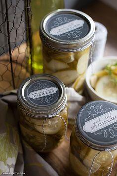 Homemade Pickles   Printable Jar Lid Labels