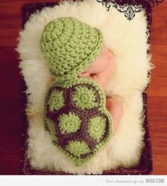 Baby Turtle This wouldn't be too hard to duplicate. Crochet in the round with green. Another two rounds with brown. Make multiple and stitch together. Edge with green. The hat is a dc with a turned up brim.