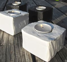 these would be neat at different heights // Here's an easy way to make some candle holders.