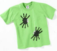 Halloween shirts for this year. My class is so excited! VERY easy to do! Black fabric paint and white puffy paint..
