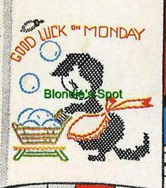Vogart 178 Seven Good Luck Kittens for Days of the Week Embroiderd Dish Towels. A 1950s hand embroidery pattern.