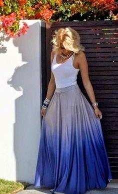 Stylish Ombre Maxi Skirt