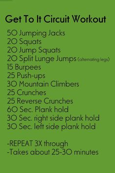 Get To It Circuit Workout that can be done at home. Will go great with the TRX training.