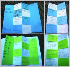 "Algebra foldable (frm Mrs. Willams Math Blog) ""I just love the way so much content can be summarized in one handy location.  Many of my 8th grade Algebra students are visual learners and all of them seem to enjoy the change in pace when we create foldables."""