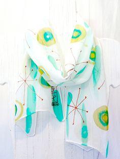 Handmade Silk Scarf. Hand Painted Silk  by SilkScarvesTakuyo at etsy.com