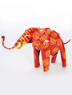 Large Tin Elephant - Handmade from tin in Zimbabwe. $36