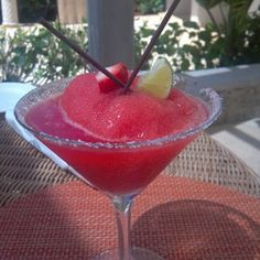 Bermuda. Tucker's Point Resort & Spa. Strawberry margarita while we wait for our room. July 17, 2012.