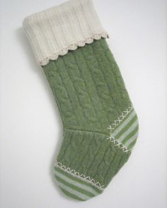 Green Cable Knit and Stripes Christmas Stocking Handmade from Felted Wool Sweaters