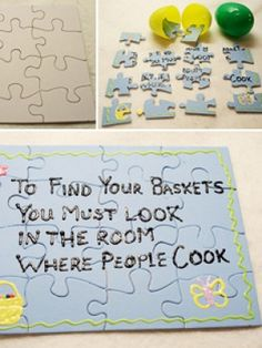 Love this Easter egg hunt with a twist. You hide the puzzle pieces in plastic Easter eggs and then, once they have found all the eggs, they have to find all of the pieces to get the written clue. Brilliant. #jigsawpuzzles #easter