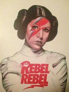 Carrie Fisher as Princess Leia as David Bowie as Aladdin Sane. Pop art, illustration, Star Wars Art.