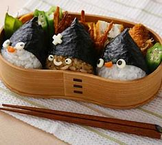 bentolunch idea, bento box, balls, sushi, food, penguin, duck box, lunch box, hat