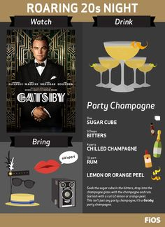 Whether you love the roaring 20s or just Leonardo DiCaprio, you should include The Great Gatsby in your next #MovieNight. Make party champagne with this drink recipe and grab your flapper dresses and boater hats for a night of fabulous fun!